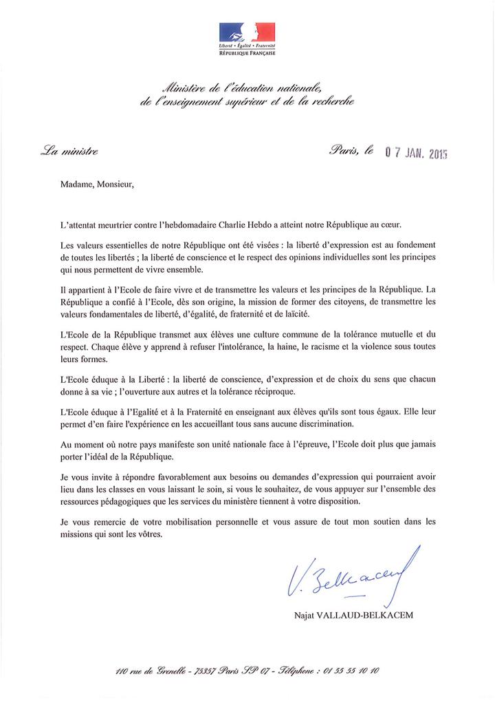 lettre de la madame la ministre de l ducation nationale suite aux attentats du 7 janvier 2015. Black Bedroom Furniture Sets. Home Design Ideas
