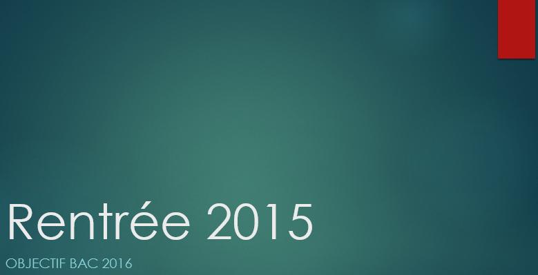 rentrée 2015
